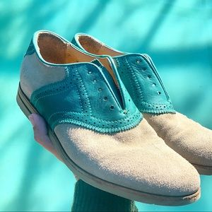 FRYE suede oxford loafer flat teal brown size 7